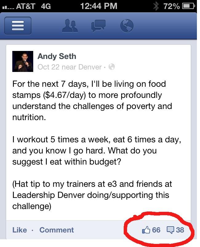 Screenshot of Facebook post describing the experiment to friends