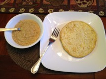 2 medium white egg omelet with salt and pepper and ½ cup oatmeal with water